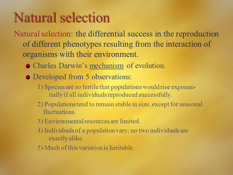 Natural selection Natural selection: the differential success in the reproduction of different phenotypes resulting from the interaction of organisms