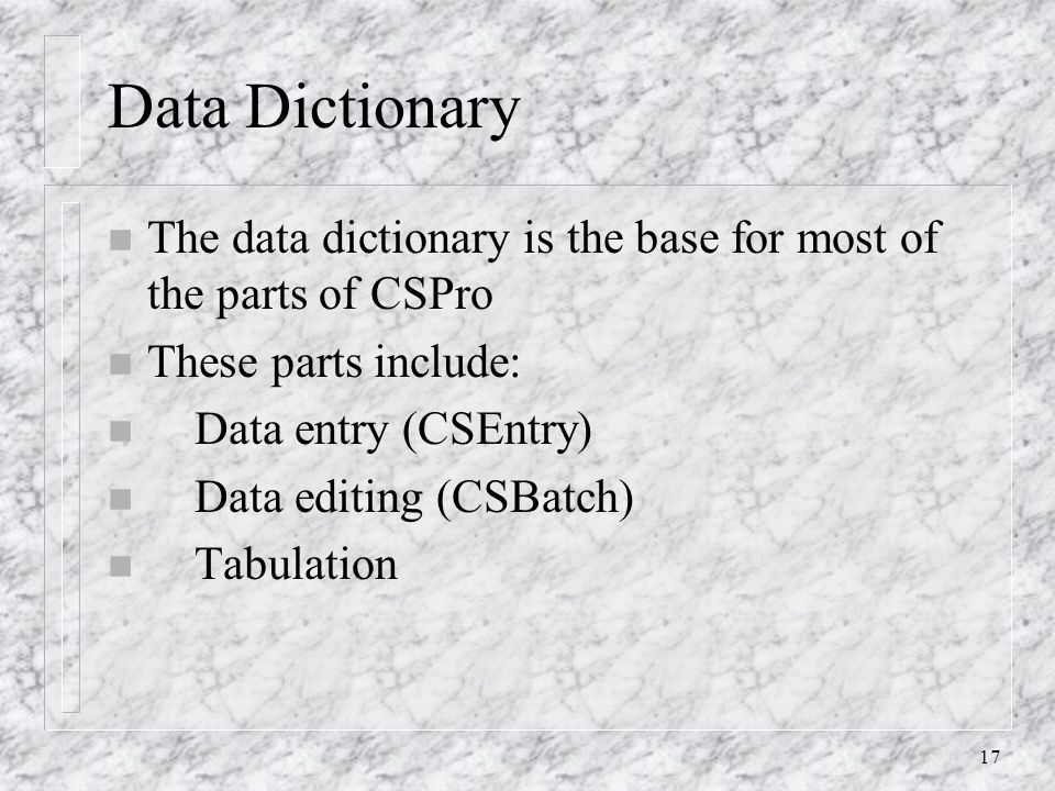 17 Data Dictionary n The data dictionary is the base for most of the parts of CSPro n These parts include: n Data entry (CSEntry) n Data editing (CSBatch) n Tabulation