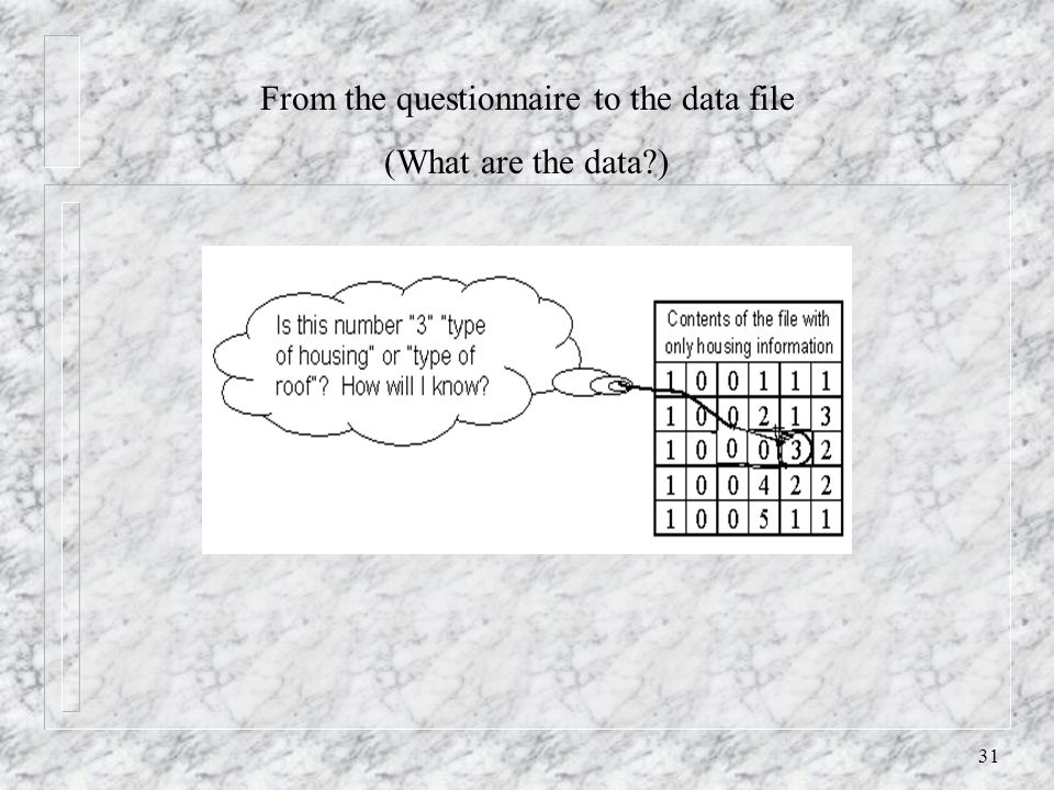 31 From the questionnaire to the data file (What are the data?)