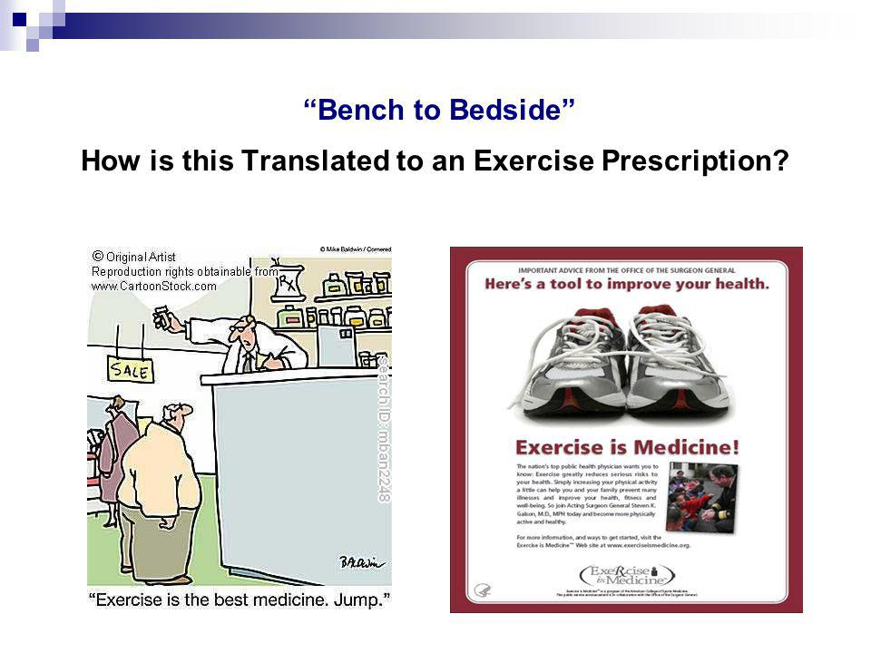 Bench to Bedside How is this Translated to an Exercise Prescription