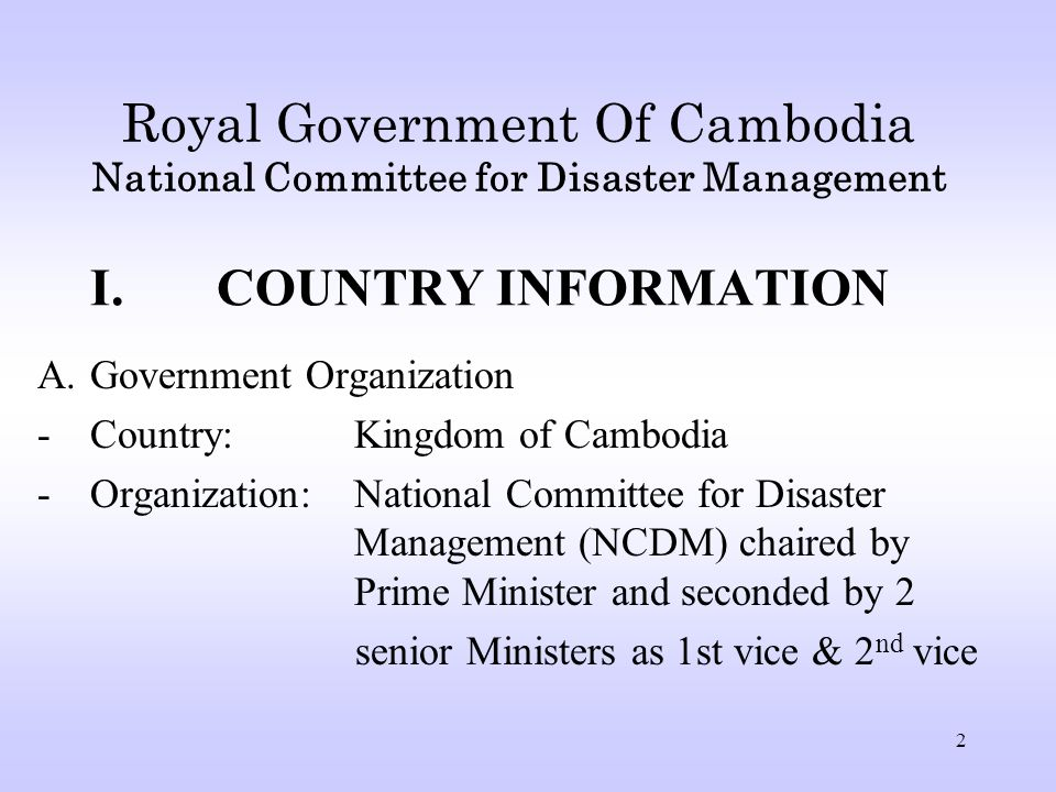 32 Conclusion Agreements with other ASEAN countries and in the region are very important and helpful for Cambodia Cambodia needs to have support from UN agencies, IOs, NGOs, donors and international communities to Provide assistance in Emergency Response and Post-Disaster rehabilitation Capacity and capability of disaster management mechanism need to be strengthened so as to involve in activities with ASEAN member countries and other countries.