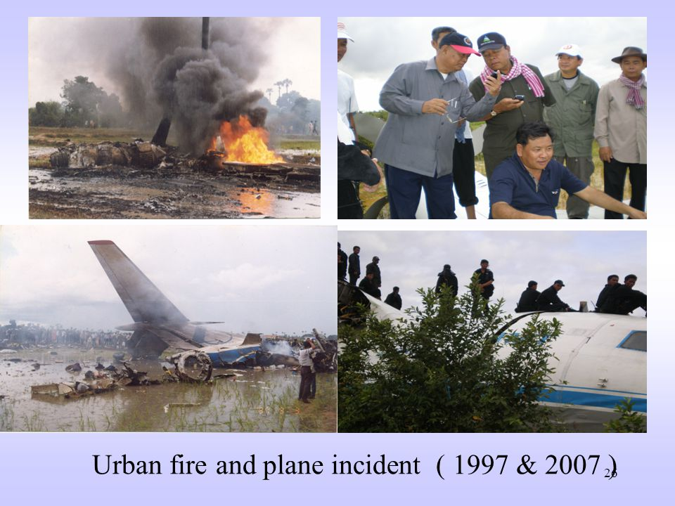 25 2.Air Crash 1996: one military helicopter crashed in the jungle, Northern province of Kompong Thom, 2 killed and 10 injured 1997: one Vietnam Airline VN-815 crashed in the rice field outside Phnom Penh International Airport killing 65 passengers and crew 2002(1 st April):one military helicopter crashed at Military Airport,3 crew killed and 1injured 2007: 2Antony Russian- made Aircrafts crashed into the mountain and in the rice field killing 22 passengers and crew.
