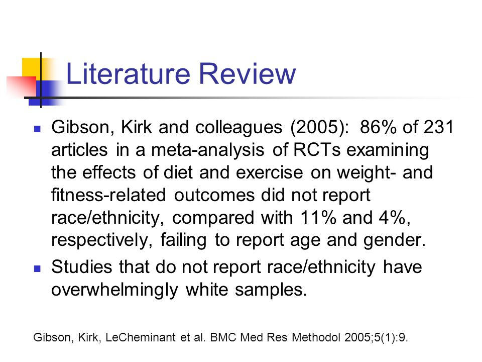 Literature Review Gibson, Kirk and colleagues (2005): 86% of 231 articles in a meta-analysis of RCTs examining the effects of diet and exercise on weight- and fitness-related outcomes did not report race/ethnicity, compared with 11% and 4%, respectively, failing to report age and gender.