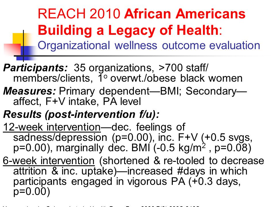 REACH 2010 African Americans Building a Legacy of Health: Organizational wellness outcome evaluation Participants: 35 organizations, >700 staff/ members/clients, 1 o overwt./obese black women Measures: Primary dependent—BMI; Secondary— affect, F+V intake, PA level Results (post-intervention f/u): 12-week intervention—dec.