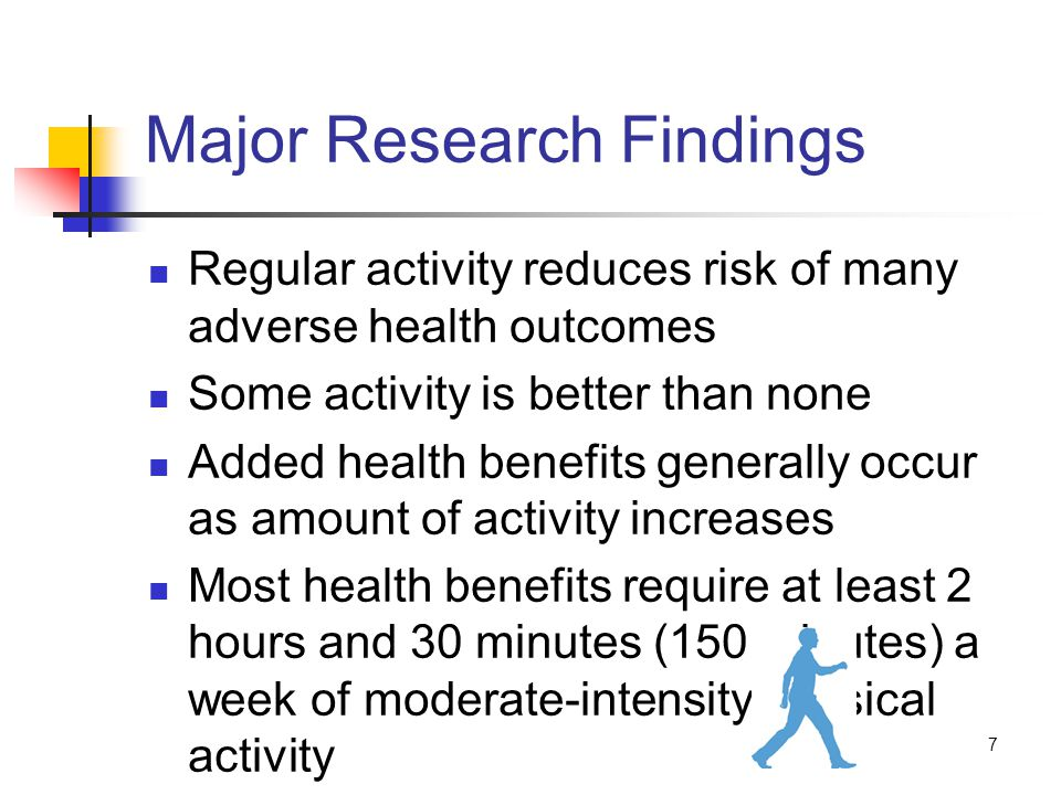 7 Major Research Findings Regular activity reduces risk of many adverse health outcomes Some activity is better than none Added health benefits generally occur as amount of activity increases Most health benefits require at least 2 hours and 30 minutes (150 minutes) a week of moderate-intensity physical activity