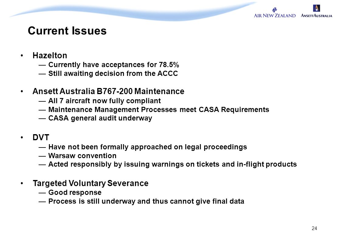 24 Current Issues Hazelton —Currently have acceptances for 78.5% —Still awaiting decision from the ACCC Ansett Australia B767-200 Maintenance —All 7 a