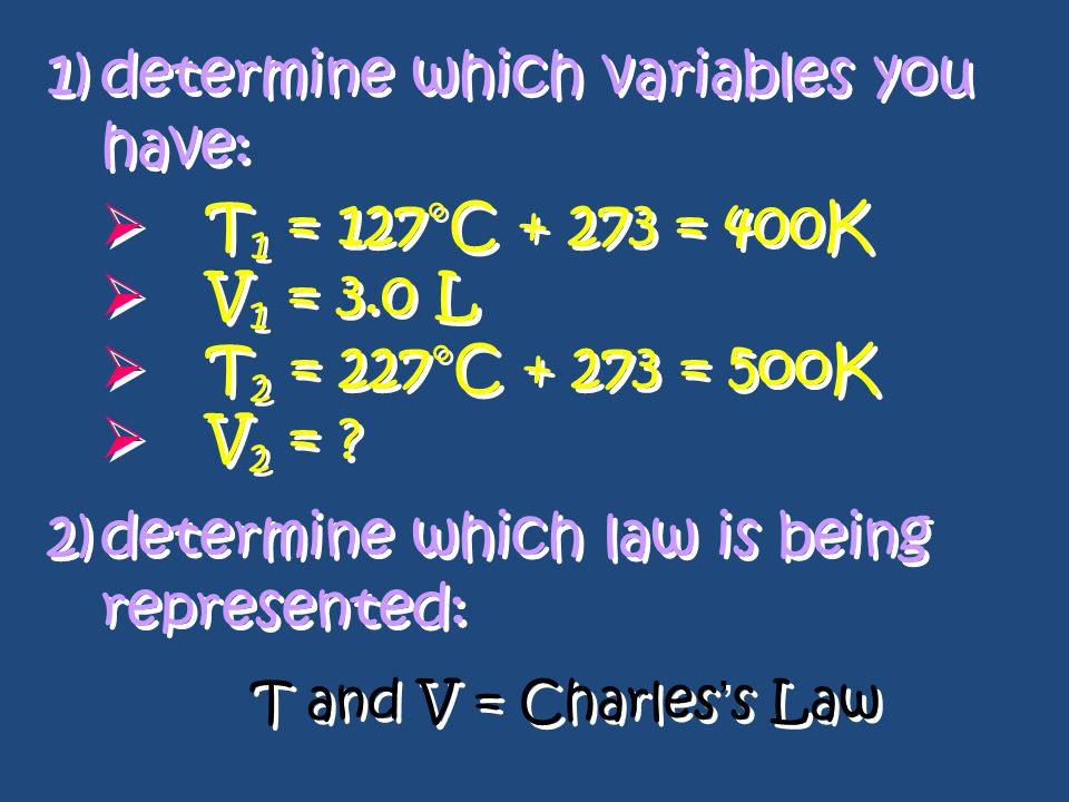 Charles's Mathematical Law: since V/T = k Eg: A gas has a volume of 3.0 L at 127°C.