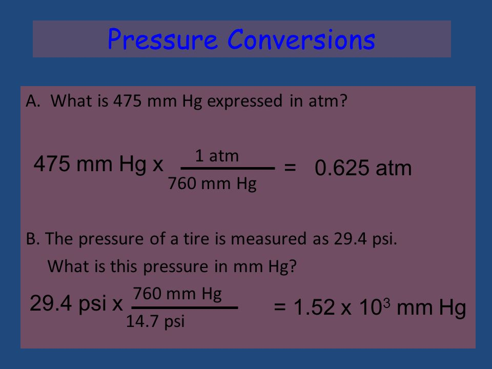 PressureColumn height measures Pressure of atmosphere 1 standard atmosphere (atm) * = 760 mm Hg (or torr) * = 29.92 inches Hg * = 14.7 pounds/in2 (psi) = 101.3 kPa * Memorize these!