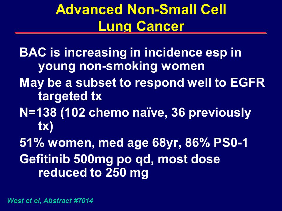 Advanced Non-Small Cell Lung Cancer BAC is increasing in incidence esp in young non-smoking women May be a subset to respond well to EGFR targeted tx N=138 (102 chemo naïve, 36 previously tx) 51% women, med age 68yr, 86% PS0-1 Gefitinib 500mg po qd, most dose reduced to 250 mg West et el, Abstract #7014