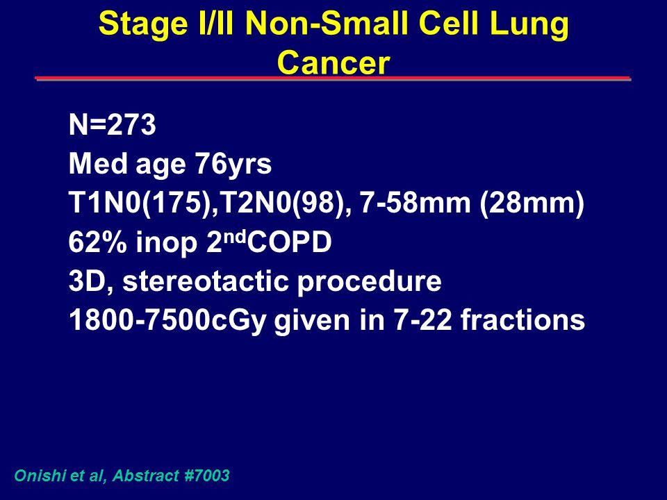Stage I/II Non-Small Cell Lung Cancer 2.9% with grade ¾ pulmonary compl CR 71%, PR 59% Local Progression in 12.5% 3yrS: 69% Bio Eff Dose<100Gy 95% BED >100Gy Interesting new technology Onishi et al, Abstract #7003