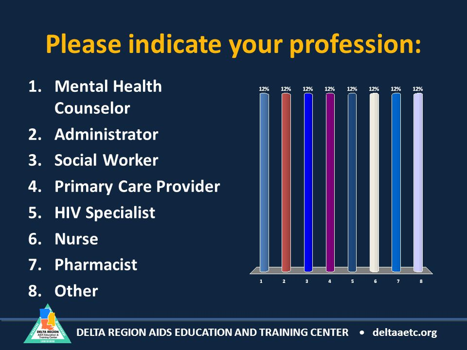 DELTA REGION AIDS EDUCATION AND TRAINING CENTER deltaaetc.org Please indicate your profession: 1.Mental Health Counselor 2.Administrator 3.Social Worker 4.Primary Care Provider 5.HIV Specialist 6.Nurse 7.Pharmacist 8.Other