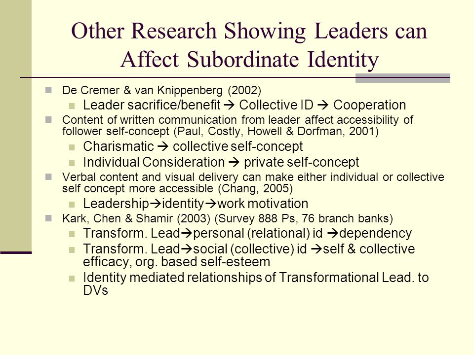 Other Research Showing Leaders can Affect Subordinate Identity De Cremer & van Knippenberg (2002) Leader sacrifice/benefit  Collective ID  Cooperation Content of written communication from leader affect accessibility of follower self-concept (Paul, Costly, Howell & Dorfman, 2001) Charismatic  collective self-concept Individual Consideration  private self-concept Verbal content and visual delivery can make either individual or collective self concept more accessible (Chang, 2005) Leadership  identity  work motivation Kark, Chen & Shamir (2003) (Survey 888 Ps, 76 branch banks) Transform.
