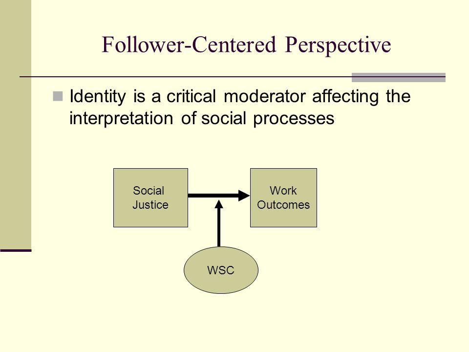 Follower-Centered Perspective Identity is a critical moderator affecting the interpretation of social processes Social Justice Work Outcomes WSC