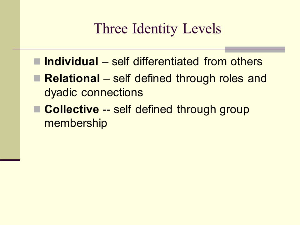 Three Identity Levels Individual – self differentiated from others Relational – self defined through roles and dyadic connections Collective -- self defined through group membership