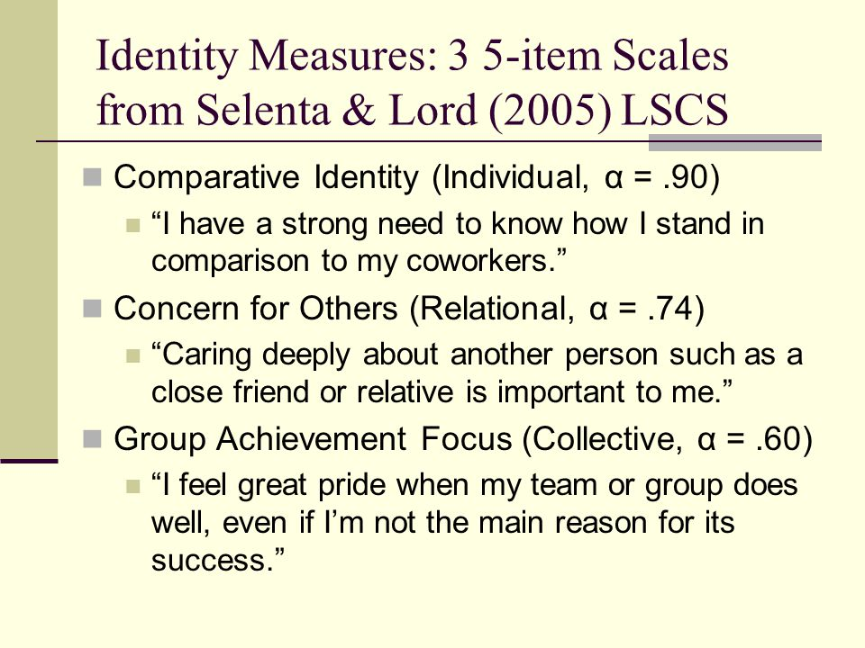 Identity Measures: 3 5-item Scales from Selenta & Lord (2005) LSCS Comparative Identity (Individual, α =.90) I have a strong need to know how I stand in comparison to my coworkers. Concern for Others (Relational, α =.74) Caring deeply about another person such as a close friend or relative is important to me. Group Achievement Focus (Collective, α =.60) I feel great pride when my team or group does well, even if I'm not the main reason for its success.