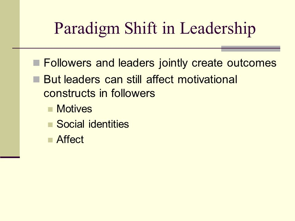 Paradigm Shift in Leadership Followers and leaders jointly create outcomes But leaders can still affect motivational constructs in followers Motives Social identities Affect