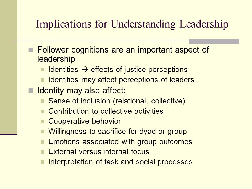 Implications for Understanding Leadership Follower cognitions are an important aspect of leadership Identities  effects of justice perceptions Identities may affect perceptions of leaders Identity may also affect: Sense of inclusion (relational, collective) Contribution to collective activities Cooperative behavior Willingness to sacrifice for dyad or group Emotions associated with group outcomes External versus internal focus Interpretation of task and social processes