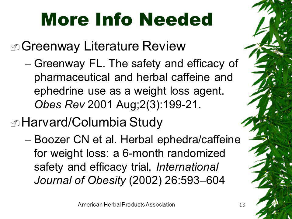 American Herbal Products Association18 More Info Needed  Greenway Literature Review –Greenway FL.