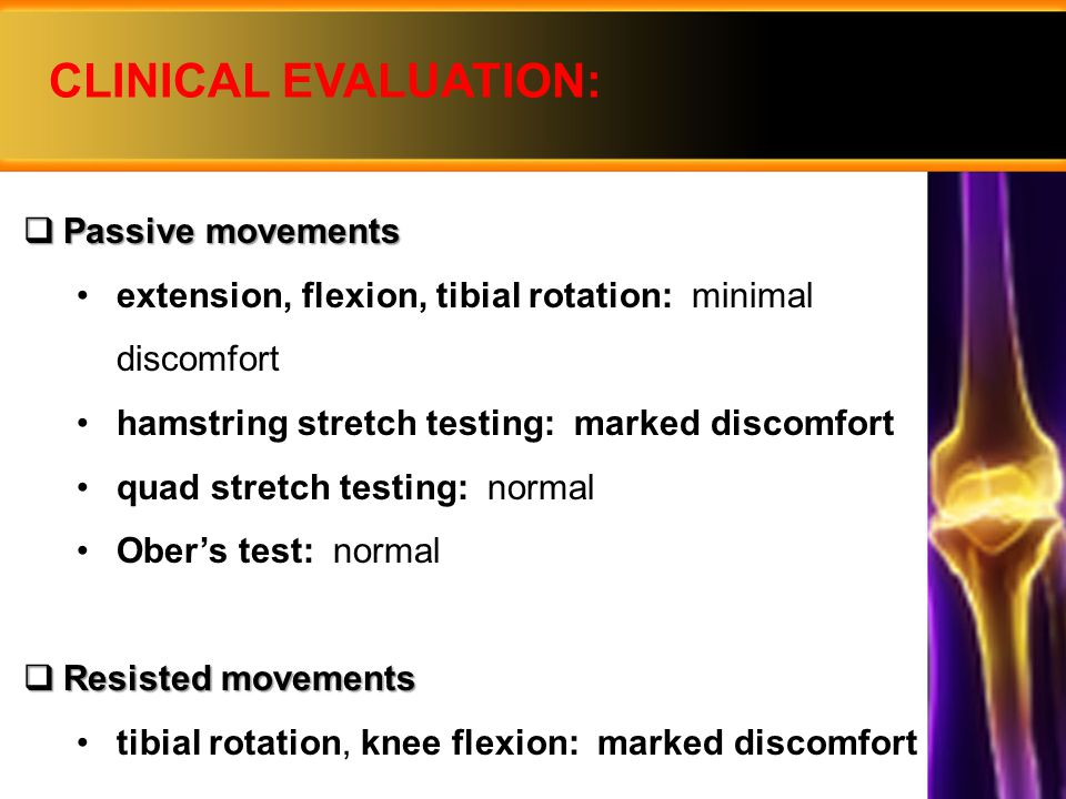 PROGRESSION  Week 2 post-op: physiotherapist: with Range of Motion (ROM) exercises aim: to re-establish full knee extension active assisted knee slides against wall progressed to knee flexor stretching using sport cord and knee flexor stretch against a wall after full ROM: active cycling to maintain aerobic fitness Isotonic Open-Chain-Kinetic Exercise - straight leg raises