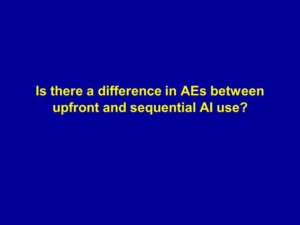 Is there a difference in AEs between upfront and sequential AI use?