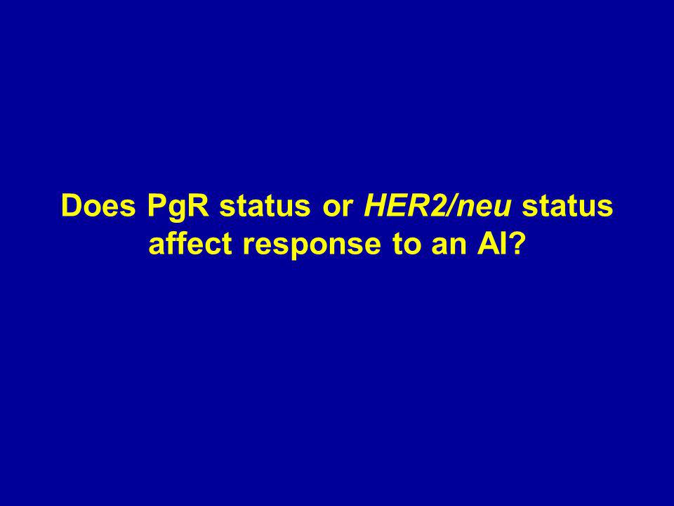 Does PgR status or HER2/neu status affect response to an AI?