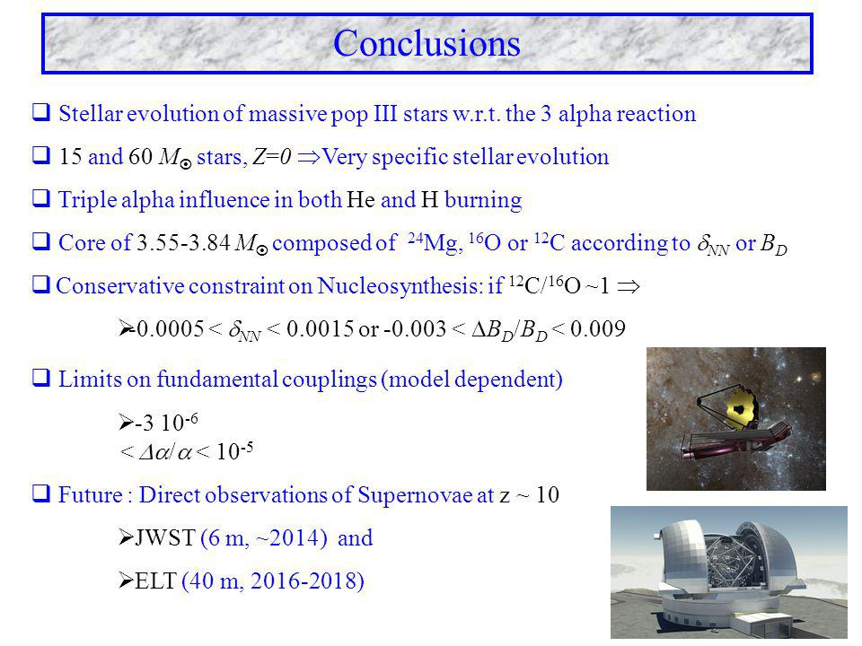 Conclusions  Stellar evolution of massive pop III stars w.r.t. the 3 alpha reaction  15 and 60 M  stars, Z=0  Very specific stellar evolution  Tr