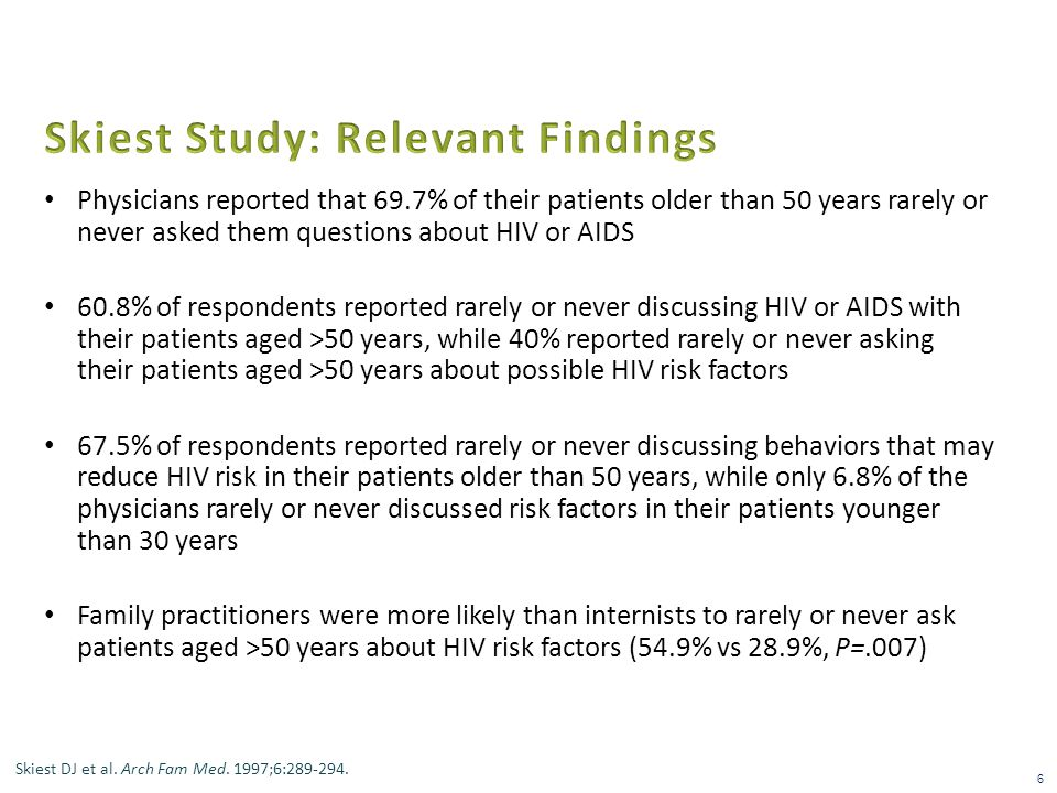 Physicians reported that 69.7% of their patients older than 50 years rarely or never asked them questions about HIV or AIDS 60.8% of respondents reported rarely or never discussing HIV or AIDS with their patients aged >50 years, while 40% reported rarely or never asking their patients aged >50 years about possible HIV risk factors 67.5% of respondents reported rarely or never discussing behaviors that may reduce HIV risk in their patients older than 50 years, while only 6.8% of the physicians rarely or never discussed risk factors in their patients younger than 30 years Family practitioners were more likely than internists to rarely or never ask patients aged >50 years about HIV risk factors (54.9% vs 28.9%, P=.007) 6 Skiest DJ et al.