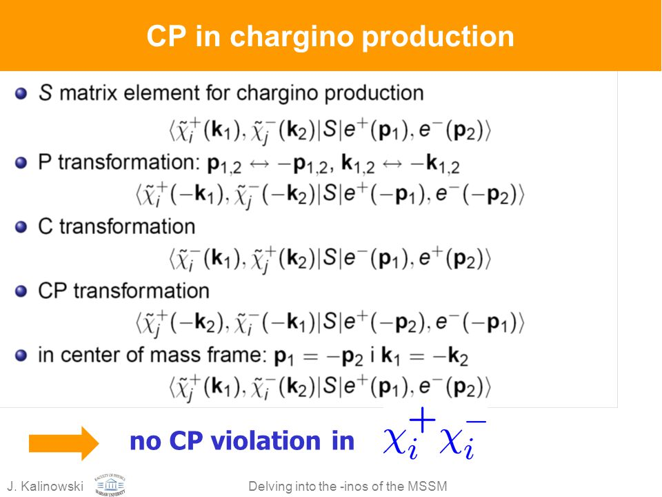 J. KalinowskiDelving into the -inos of the MSSM CP in chargino production no CP violation in