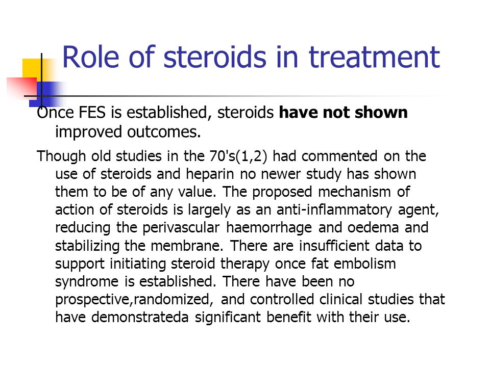 Role of steroids in treatment Once FES is established, steroids have not shown improved outcomes.