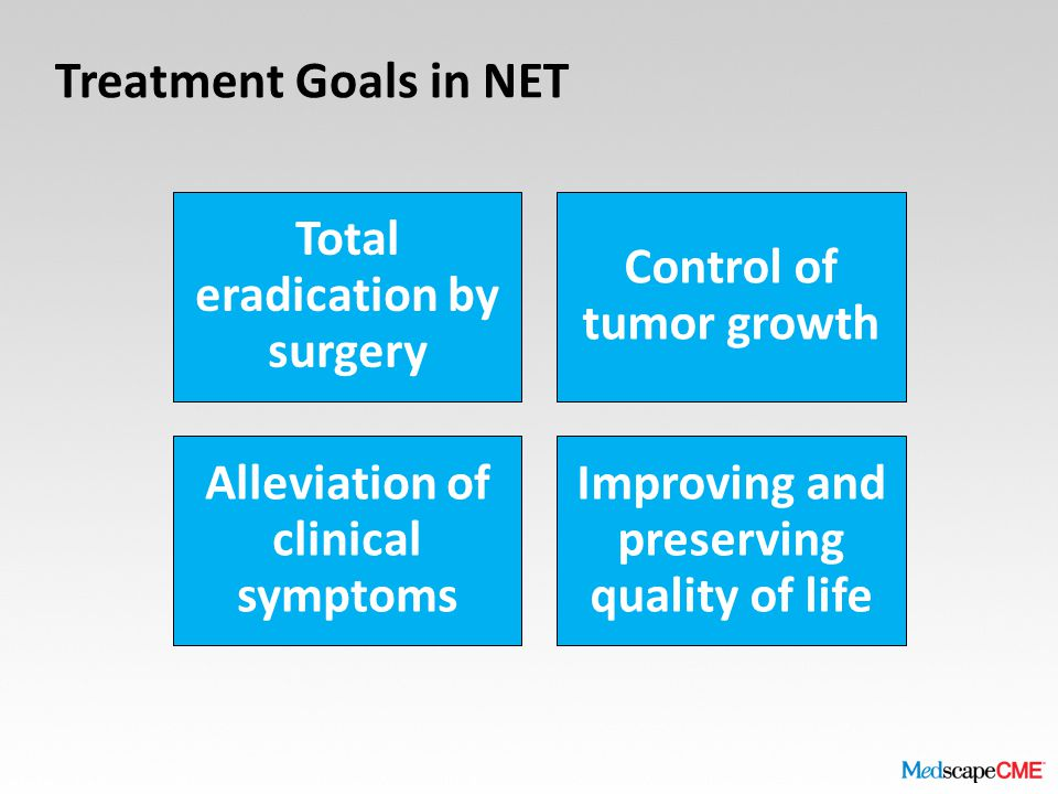 Treatment Goals in NET Total eradication by surgery Control of tumor growth Alleviation of clinical symptoms Improving and preserving quality of life