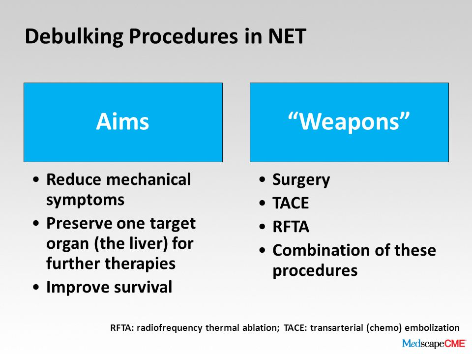 Debulking Procedures in NET Aims Reduce mechanical symptoms Preserve one target organ (the liver) for further therapies Improve survival Weapons Surgery TACE RFTA Combination of these procedures RFTA: radiofrequency thermal ablation; TACE: transarterial (chemo) embolization