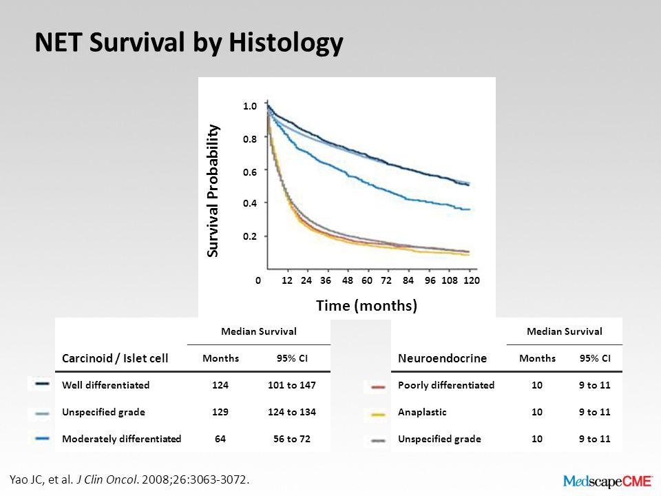 NET Survival by Histology Yao JC, et al. J Clin Oncol.