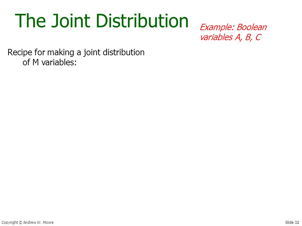 Slide 32 Copyright © Andrew W. Moore The Joint Distribution Recipe for making a joint distribution of M variables: Example: Boolean variables A, B, C