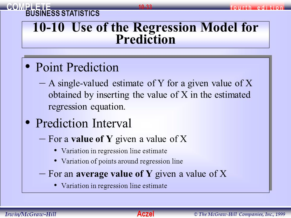 COMPLETE f o u r t h e d i t i o n BUSINESS STATISTICS Aczel Irwin/McGraw-Hill © The McGraw-Hill Companies, Inc., 1999 10-33 Point Prediction – A sing