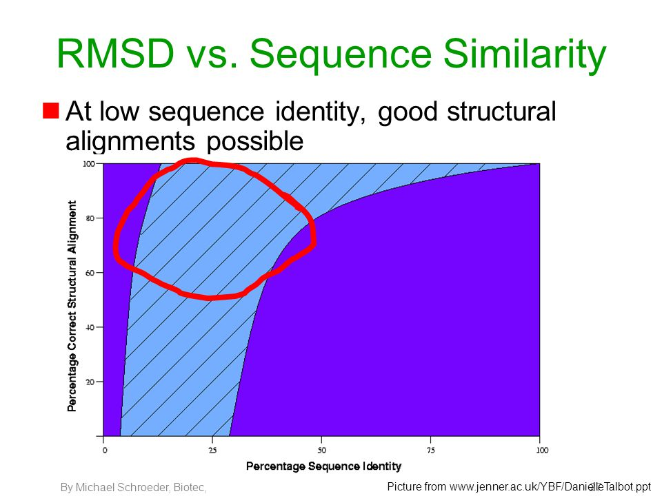 By Michael Schroeder, Biotec, 27 RMSD vs. Sequence Similarity nAt low sequence identity, good structural alignments possible Picture from www.jenner.a