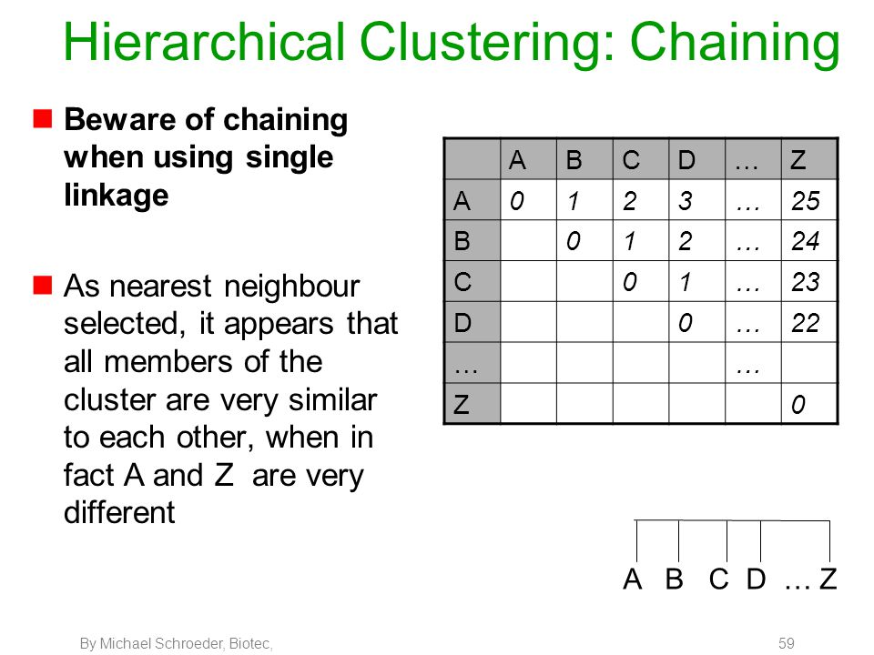 By Michael Schroeder, Biotec, 59 Hierarchical Clustering: Chaining nBeware of chaining when using single linkage nAs nearest neighbour selected, it ap