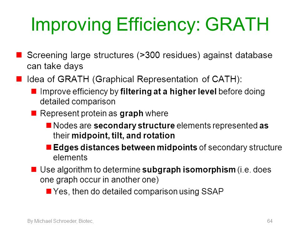By Michael Schroeder, Biotec, 64 Improving Efficiency: GRATH nScreening large structures (>300 residues) against database can take days nIdea of GRATH