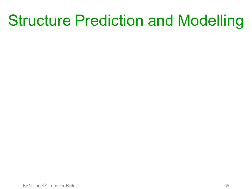 By Michael Schroeder, Biotec, 65 Structure Prediction and Modelling