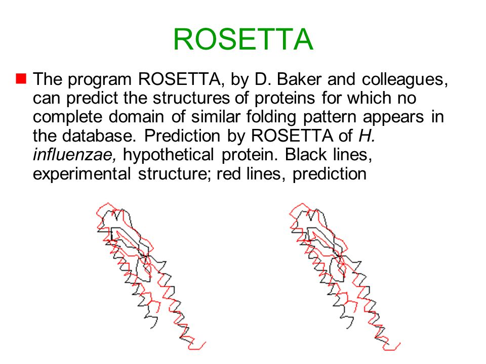 By Michael Schroeder, Biotec, 84 ROSETTA nThe program ROSETTA, by D. Baker and colleagues, can predict the structures of proteins for which no complet