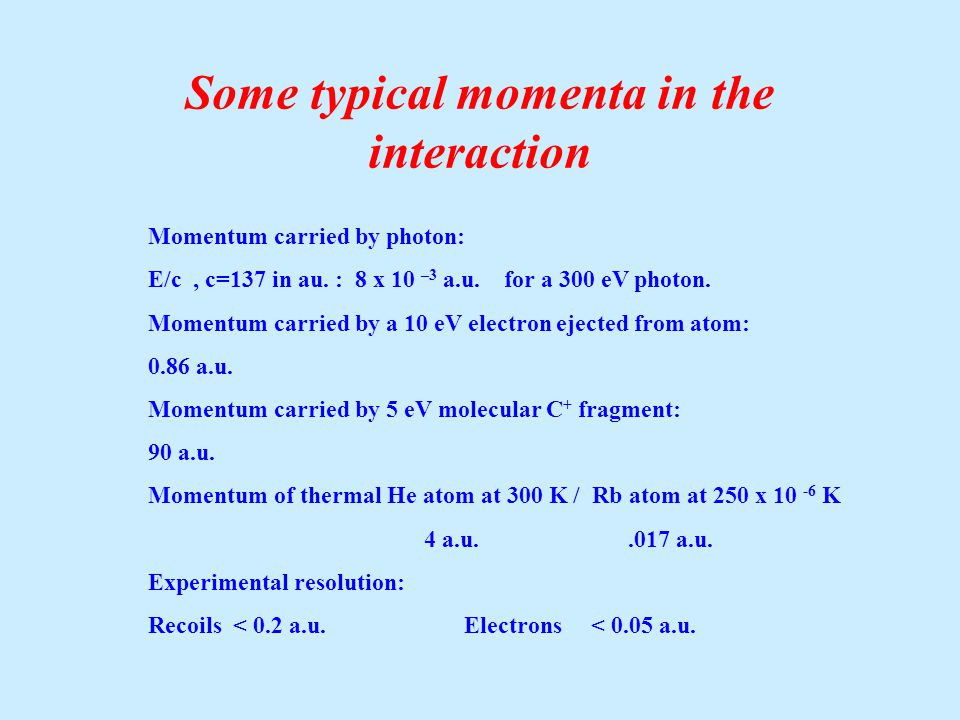 Some typical momenta in the interaction Momentum carried by photon: E/c, c=137 in au.