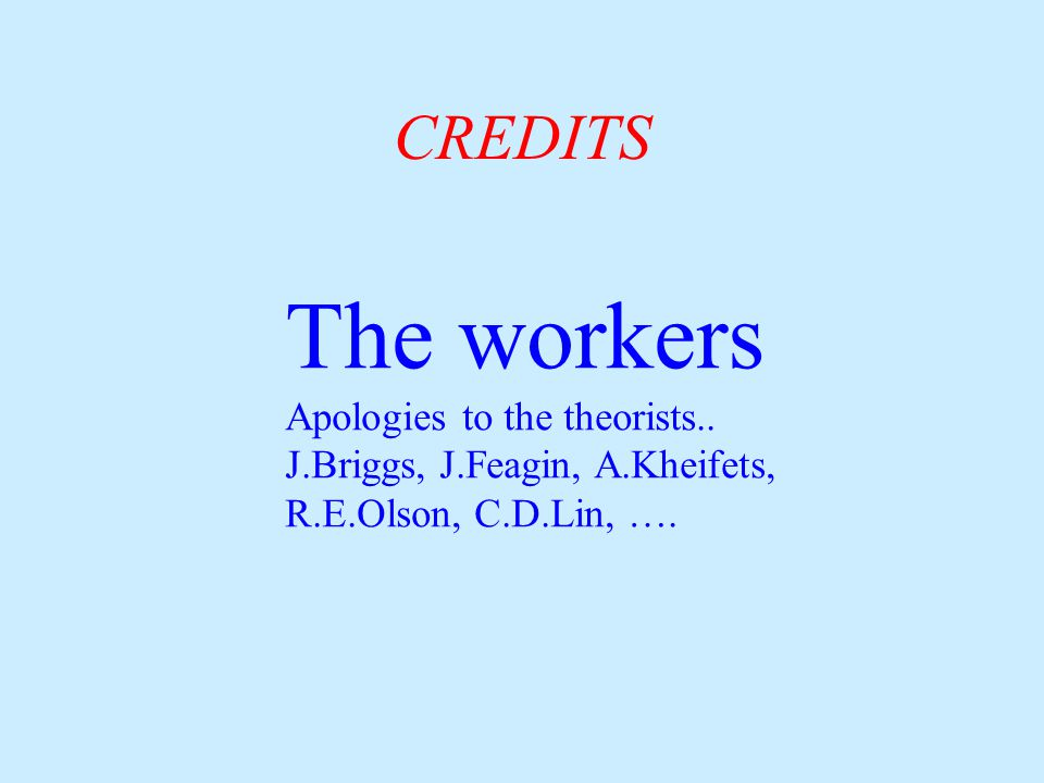CREDITS The workers Apologies to the theorists..