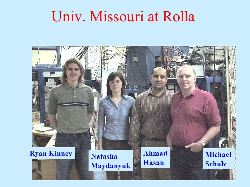 Ryan Kinney Natasha Maydanyuk Ahmad Hasan Michael Schulz Univ. Missouri at Rolla