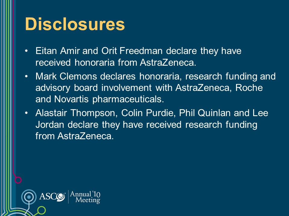 Disclosures Eitan Amir and Orit Freedman declare they have received honoraria from AstraZeneca.