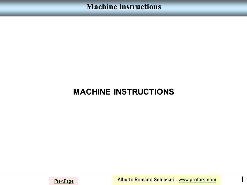 1 Alberto Romano Schiesari – www.profars.comwww.profars.com Prev.Page Machine Instructions MACHINE INSTRUCTIONS