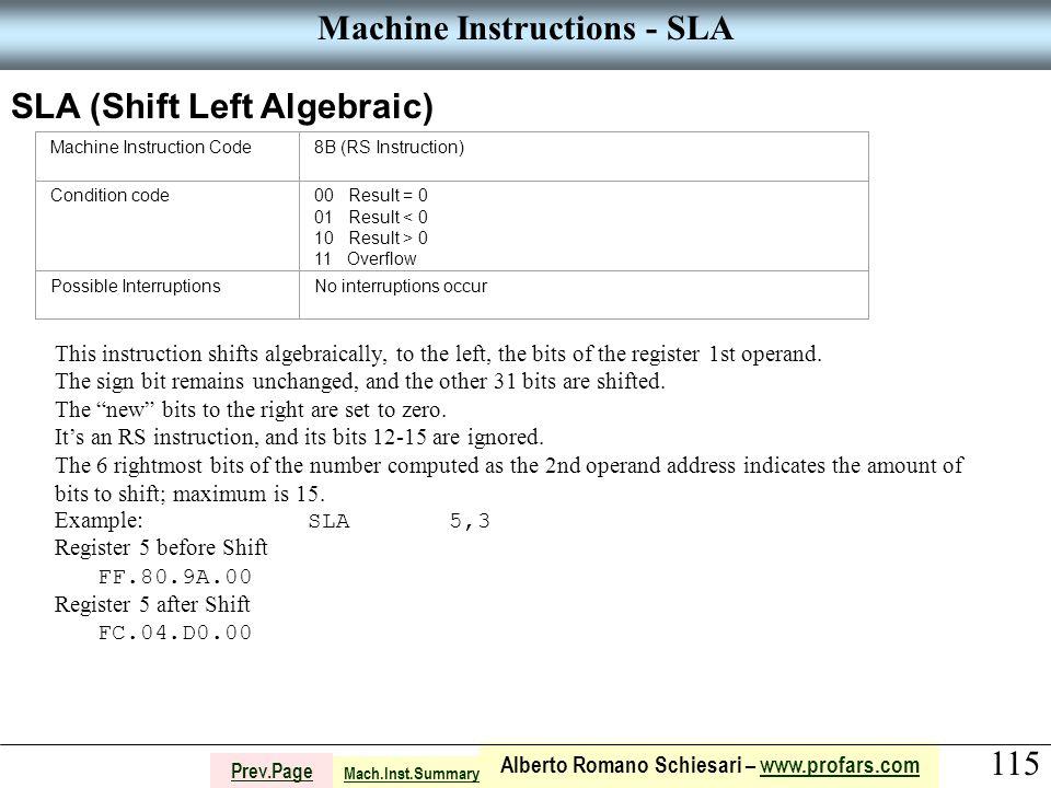 115 Alberto Romano Schiesari – www.profars.comwww.profars.com Prev.Page Machine Instructions - SLA SLA (Shift Left Algebraic) Machine Instruction Code8B (RS Instruction) Condition code00 Result = 0 01 Result < 0 10 Result > 0 11 Overflow Possible InterruptionsNo interruptions occur This instruction shifts algebraically, to the left, the bits of the register 1st operand.