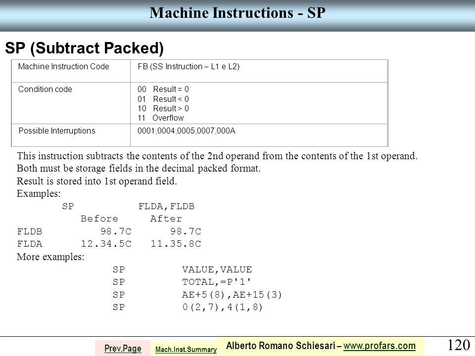 120 Alberto Romano Schiesari – www.profars.comwww.profars.com Prev.Page Machine Instructions - SP SP (Subtract Packed) Machine Instruction CodeFB (SS