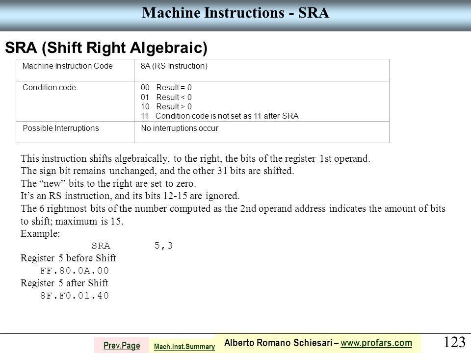 123 Alberto Romano Schiesari – www.profars.comwww.profars.com Prev.Page Machine Instructions - SRA SRA (Shift Right Algebraic) Machine Instruction Code8A (RS Instruction) Condition code00 Result = 0 01 Result < 0 10 Result > 0 11 Condition code is not set as 11 after SRA Possible InterruptionsNo interruptions occur This instruction shifts algebraically, to the right, the bits of the register 1st operand.