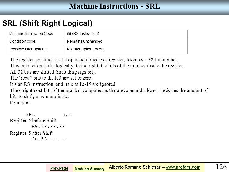 126 Alberto Romano Schiesari – www.profars.comwww.profars.com Prev.Page Machine Instructions - SRL SRL (Shift Right Logical) The register specified as