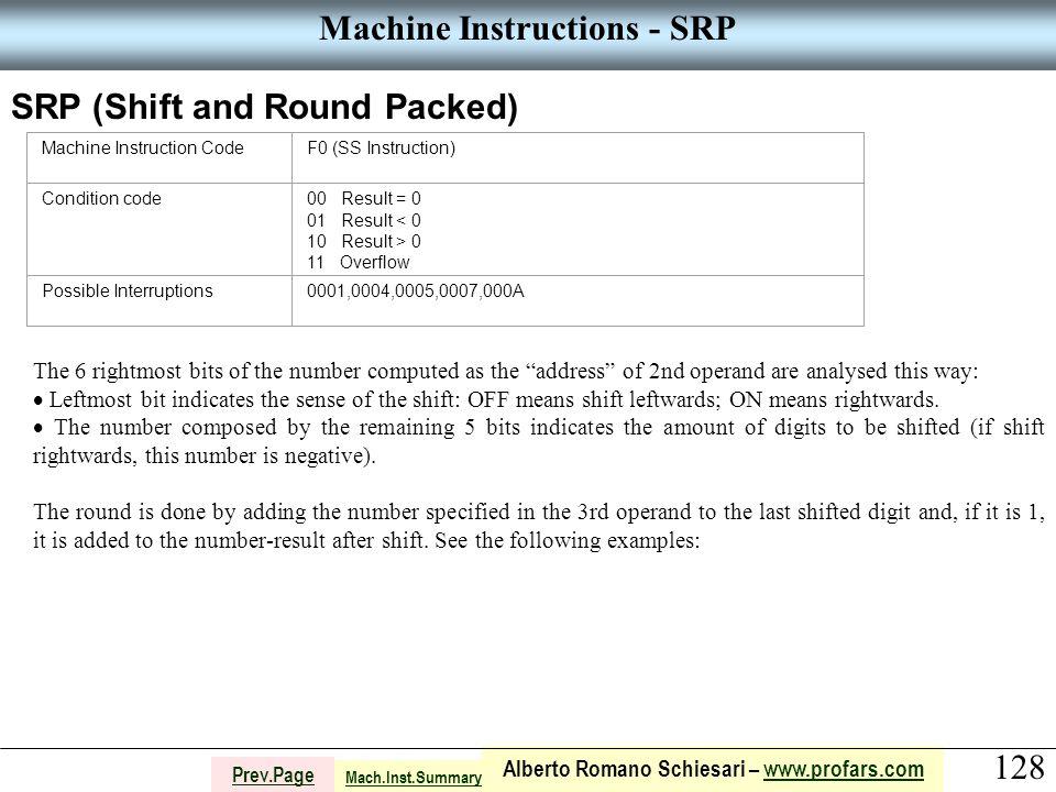 128 Alberto Romano Schiesari – www.profars.comwww.profars.com Prev.Page Machine Instructions - SRP SRP (Shift and Round Packed) Machine Instruction Co