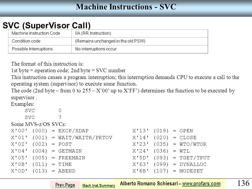 136 Alberto Romano Schiesari – www.profars.comwww.profars.com Prev.Page Machine Instructions - SVC SVC (SuperVisor Call) Machine Instruction Code0A (R